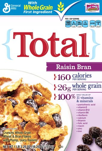 Total Raisin Bran Cereal 18 25 Ounce Box Pack of 6