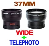 New ! Deluxe 37mm Wide Angle Lens 0.45 X PROFESSIONAL HD + Deluxe 37mm Tele ....