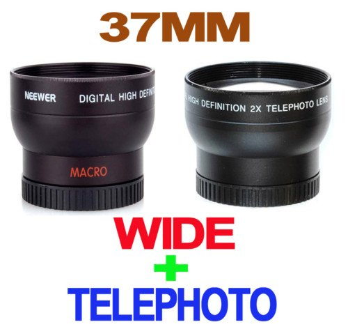 New ! Deluxe 37mm Wide Angle Lens 0.45 X PROFESSIONAL HD + Deluxe 37mm Telephoto Lens 2 X PROFESSIONAL HD For ALL Cameras & Camcorders with 37mm size Lens Filter thread!!!