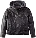 Urban Republic Big Boys' Bull Rugged Faux Leather Hooded Jacket, Charcoal, 8
