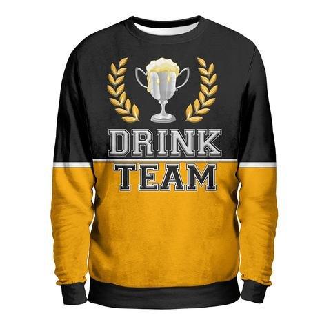 DRINK TEAM Felpa Uomo - Beer To Dream Sweatshirt Man - Birra Gelata Fredda Bionda Rossa Scura Coppa Brindare Pinta Spillatore Fun T-Shirt