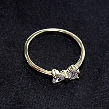 buy Huayang 2015 Fashion Jewelry Gold Plated Finger Bow Ring Zircon Crystal Engagement Ring(Ring Size Us8)