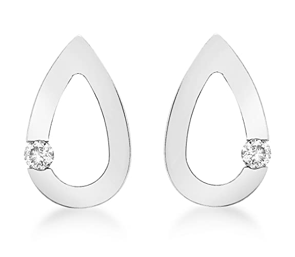 Carissima Gold 9 ct Diamond Teardrop Stud Earrings