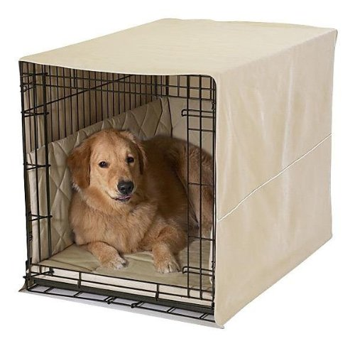 Pet Dreams- Lightweight Dog Crate Pad, Crate Cover and Bumper Set- Khaki Tan- Large (Midwest Crate Cover compare prices)
