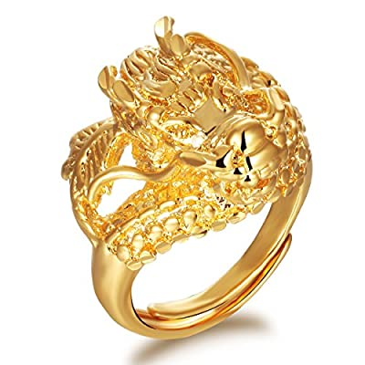 Fashionable Stainless Steel 18K Gold Tone Chinese Dragon Charm Ring For Men Adjustable