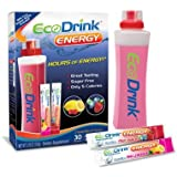 EcoDrink Energy Natural Drink Mix- 30 Packets (Pink Lemonade and Fruit Punch) for Hours of Energy!
