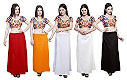 Pistaa combo of Women's Pure Cotton Maroon, Orange, Milky White, Off White and Coca Cola Color Best Ethinic Stylish Inskirt Saree petticoats