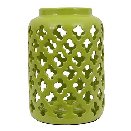 Decor Therapy Green Quatrefoil Lantern