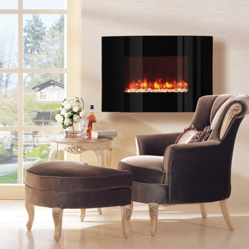 Led Wall Mount Electric Fireplace Insert Type: Pebble