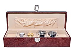 Essart PU Leather Watch Organiser Box for 6watches-A-Black-Cherry