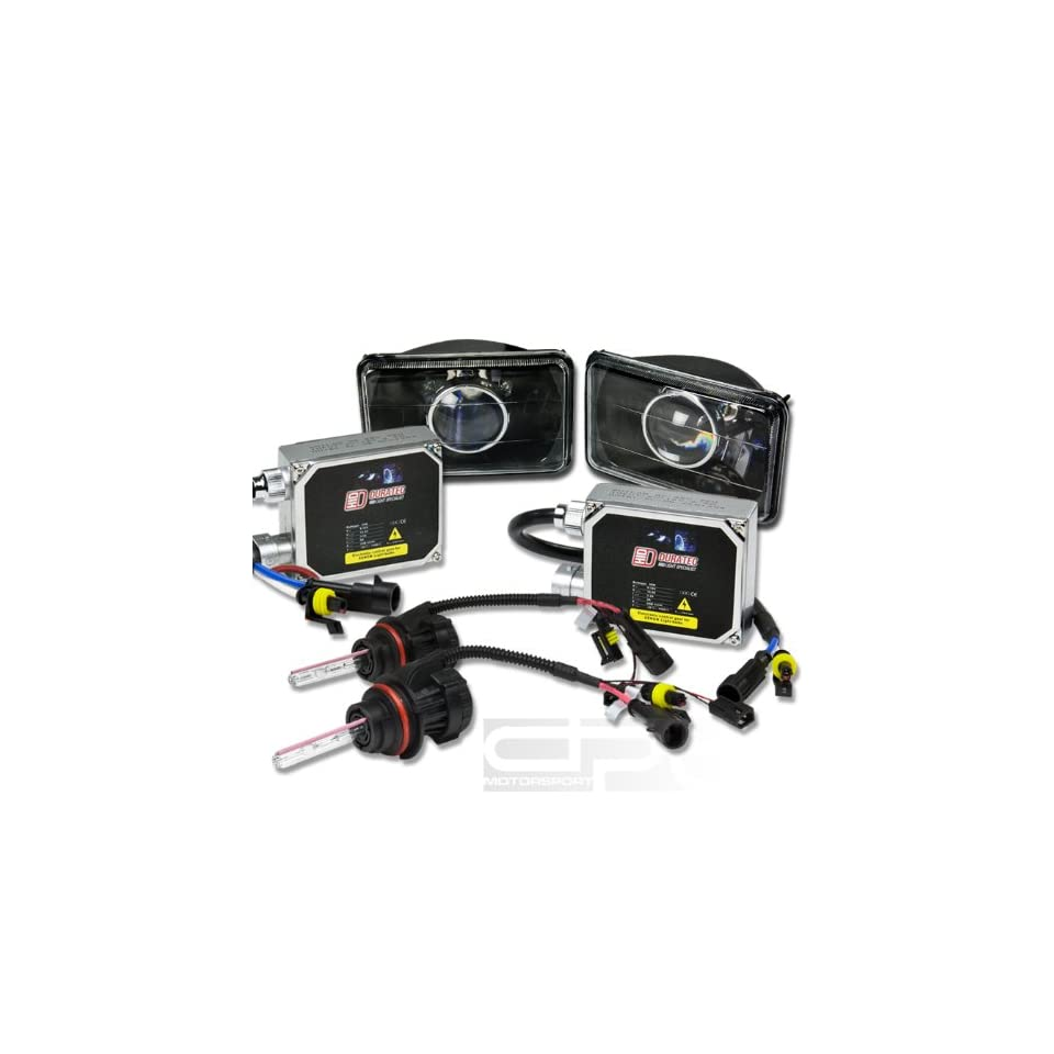 HL S 4X6 P BK+HIDDTH4HL10K+BLT, Two 4x6 H6054 Black Housing Square Diamond Cut Projector Headlight Glass Lens with 10000K Deep Blue White HID Xenon Gas H4 Low+High Beam Light and Thick AC Digital Ballast Replacement Conversion Kit Automotive