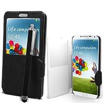 Accessory Master Etui en view cuir Motif Livre Style avec Stylet pour Samsung Galaxy Note 3 N9005 Noir
