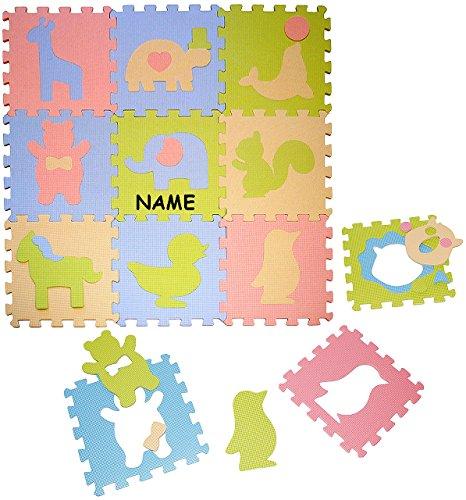 Set: Puzzle Teppich aus Mossgummi - 9 Matten & verschiedene Tiere - incl. Name - zum puzzeln / Puzzleteppich EVA - Spieleteppich Puzzlematte - Spielmatte Kinderteppich - Bodenmatte - Matte / Spielteppich - für Kinder - Puzzleteppich - Kinderspielteppich / Lernteppich - Schaumstoff / Bodenschutzmatte - Tier Giraffe