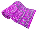 Shop Rajasthan Pink Block Gold Reversible Print Cotton Single Bed Quilt