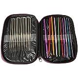 HOUSWEETY 22pcs Mixed Aluminum Handle Crochet Hook Knitting Knit Needle Weave Yarn Set