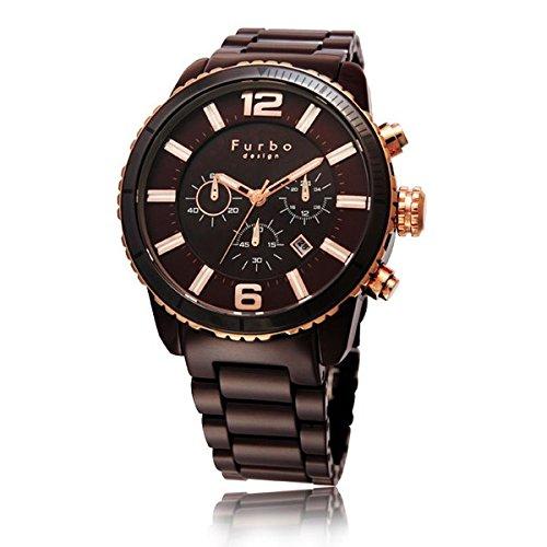(フルボデザイン)Furbo Design 腕時計 イル・ソーレ ソーラークロノグラフ ブラウンセラミック ブラウン/ブラックダイアル メンズサイズ [並行輸入品]