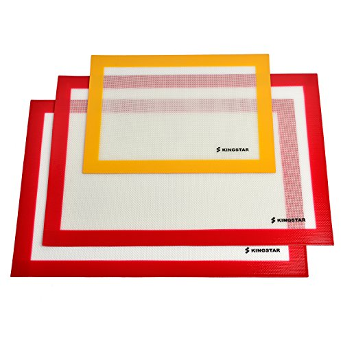 Kingstar Non Stick Silicone Baking Mat Set of 3 Heat Resistant Liners Easy to Clean Fit Half Sheet Pan (Pretzel Pan compare prices)