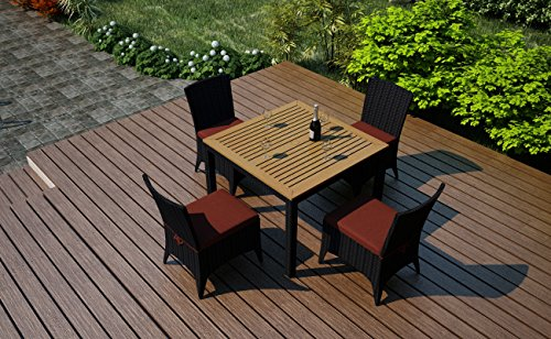 Harmonia Living Arbor 5 Piece Rattan Patio Dining Set with Red Subrella cushions (SKU HL-AR-5DN-HN) photo