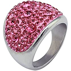 Alimab Jewelery Rings Womens Stainless Steel Wedding Bands Smooth Round CZ Pink Size 10