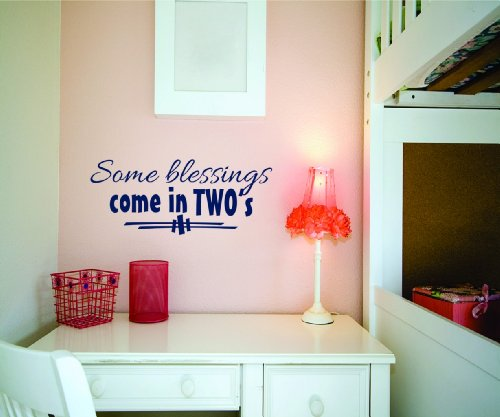 Some Blessings Come In Two'S Picture Art - Twin Kids Baby Boy Girl - Peel & Stick Sticker - Vinyl Wall Decal - Size : 14 Inches X 28 Inches - 22 Colors Available front-470974