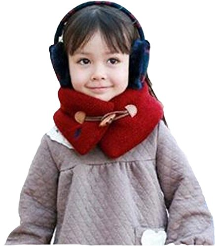 Freedi Solid Knitted Infinity Scarf With Buckle Scarves Winter for Kids Red