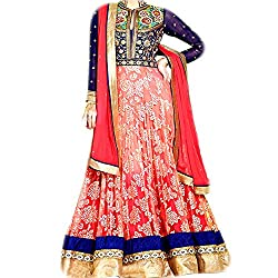 Reet Glamour Women 's Net Unstitched Peach And Blue Georgette And Net Anarkali Suit