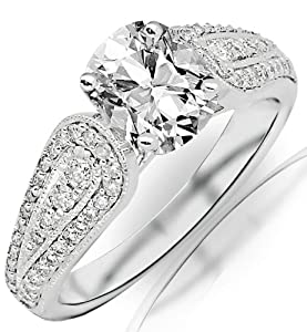 1.36 Carat Cushion Cut / Shape 14K White Gold Modern Pave And Channel Set Round Diamond Engagement Ring ( J Color , VS2 Clarity )