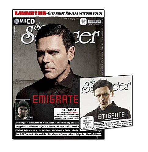 Sonic Seducer 11-2014 mit Emigrate-Titelstory + CD mit über 75 Min. Spielzeit und exkl. Vorab-Remix vom Album Silent So Long (Emigrate), Bands: Blutengel, KMFDM, Megaherz u.v.m.