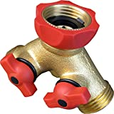 Brass 2 Way Hose Connector & Splitter with Teflon® Easy Turn Control Valves