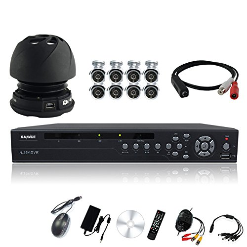Sannce H.264 16-Channel Dvr With 8 Night Vision Cameras And 2Tb Hdd With Mic Video Audio & Power Microphone ( Silver )