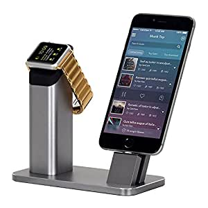 Apple Watch Series 2 Stand ZIKU Aluminum Apple watch iPhone Charging stand Dock Station -- Support Apple Watch NightStand Mode and iPhone 7 7 plus SE 5s 6S PLUS with Various Case Space Gray