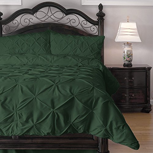 Cozy Beddings Emerson Pinch Pleat 4-Piece Comforter Set, Queen, Hunter Green