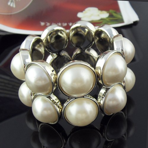 Simulate pearl charms bangle, princess style elastic bangle, br-962