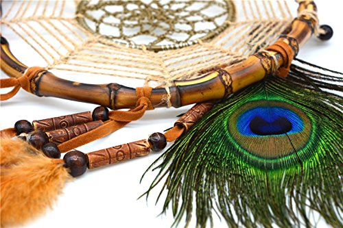 "Ricdecor Handmade Indian Peacock Feathers Dream Catcher Wall Hanging Car Hanging Decoration Ornament 25.6 Inch Long (Dia 7"" Peacock Feathers)"