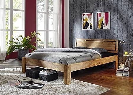 Sheesham Massivmöbel geölt Bett 200x200 Palisander Holz massiv Massivholz Nature Brown #523