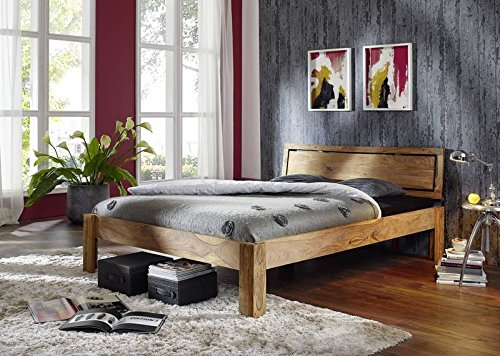 Palo de rosa madera maciza Muebles engrasada Cama 140x200 Mueble sólido Muebles De madera maciza Marrón Natural Marrón #520