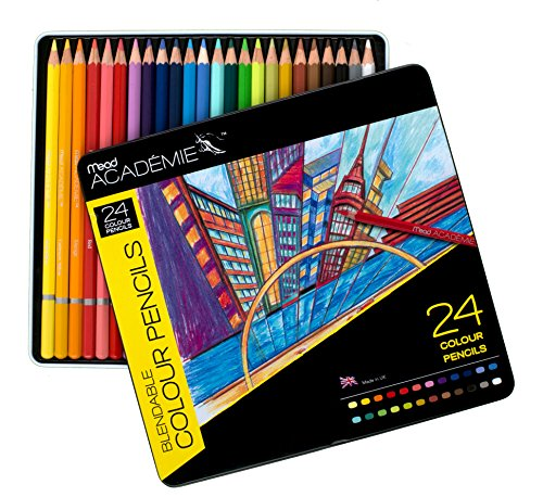 Mead Academie Blendable Colored Pencils, 24 Pencils Per Tin, Assorted (98012)
