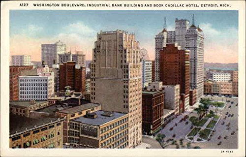 washington-boulevard-industrial-bank-building-and-book-cadillac-hotel-original-vintage-postcard