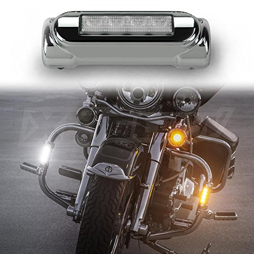 Chrome Motorcycle Highway Bar Switchback Driving Lights DRL Turnsignal White Amber LED for Crash Bars Harley Davidson Touring Bikes Ultra Classic Limited Road King Street Glide Road Glide Trike (Motorcycle Driving Lights Chrome compare prices)