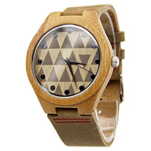 So'each Retro Leather Strap Bamboo Wooden Watch Quartz Casual Watches Unisex