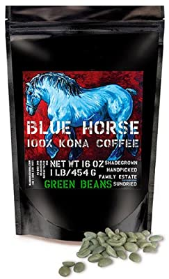 Farm-direct: 100% Kona Coffee, Green (Unroasted!) Beans, 1 Lb from Blue Horse Kona Coffee