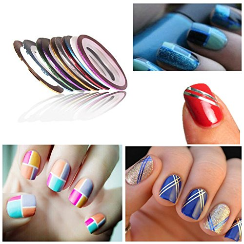 Nail Art Tape Strips: 3D Rhinestones Colorful And Neon