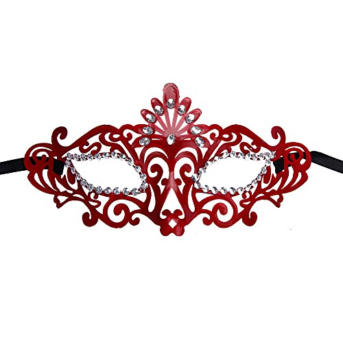 Luweki Fashion Venetian Hollow Masquerade Halloween Mask Red (Red Halloween Mask)