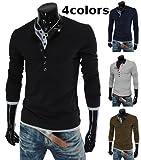 (JOY JOY JOIN) レイヤード ヘンリーネック 長袖 カットソー ボタン デザイン Tシャツ カジュアル スタイリッシュ ロング シャツ メンズ (4色選択 ブラック/ネイビー/グレー/ブラウン)