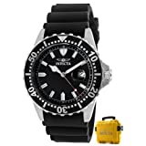 Invicta Mens 10917 Pro Diver Black Dial Black Polyurethane Watch with Yellow Impact Case
