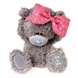 Me to You 9-inch Tatty Teddy Bear Wearing a Cute Bow (Grey/ Pink)