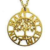 Make Art Not War Tree of Life Gold-dipped Pendant Necklace on 18