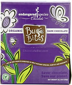 Endangered Species Bug Bites, Organic Dark Chocolate, 0.35-Ounce Packages (Pack of 64)