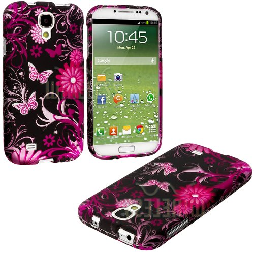 """Mylife (Tm) Pink + Black Flowers And Butterflies Series (2 Piece Snap On) Hardshell Plates Case For The Samsung Galaxy S4 """"Fits Models: I9500, I9505, Sph-L720, Galaxy S Iv, Sgh-I337, Sch-I545, Sgh-M919, Sch-R970 And Galaxy S4 Lte-A Touch Phone"""" (Clip Fitt"""