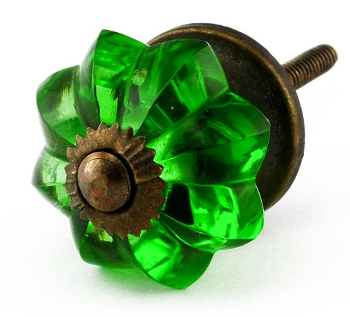 Emerald Green Glass Cabinet Knobs 10Pc Cupboard Drawer Pulls & Handles ~ K61 Old Emerald Green Melon Style Glass Knobs With Antique Brass Hardware ~ Glass Knobs, Handles & Pulls For Dresser, Drawers, Cabinets & Vanity front-1039084
